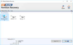 SFWare Partition Recovery Drive
