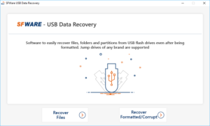 USB data recovery home screen