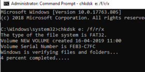 chkdsk to fix the error SSD write protected