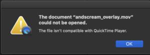 MOV video file error on Mac