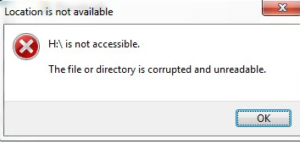 error the file or directory is corrupt and unreadable