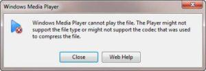 Windows media player cannot play the file error