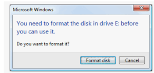 Error indicating drive is RAW