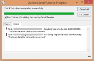 Outlook data file cannot be accessed error