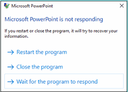 Error PPT stopped responding
