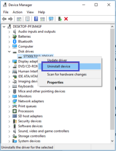 device manager uninstall device
