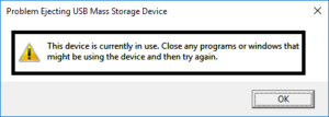 Problem ejecting the USB mass storage device