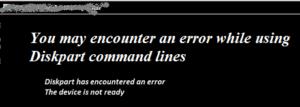 Diskpart error