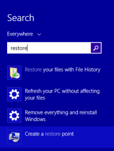 Create restore point to recover permanently deleted files