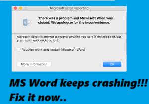 MS Word keeps crashing