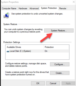 System Restore to restore deleted files