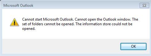 Cannot start Microsoft Outlook