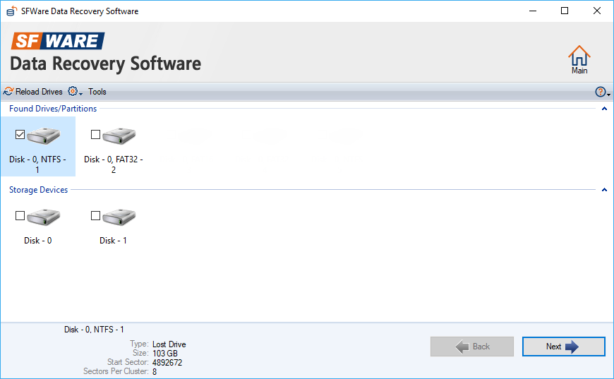 SFWare tools screenshot to select drive to recover data unrecognized external hard drive