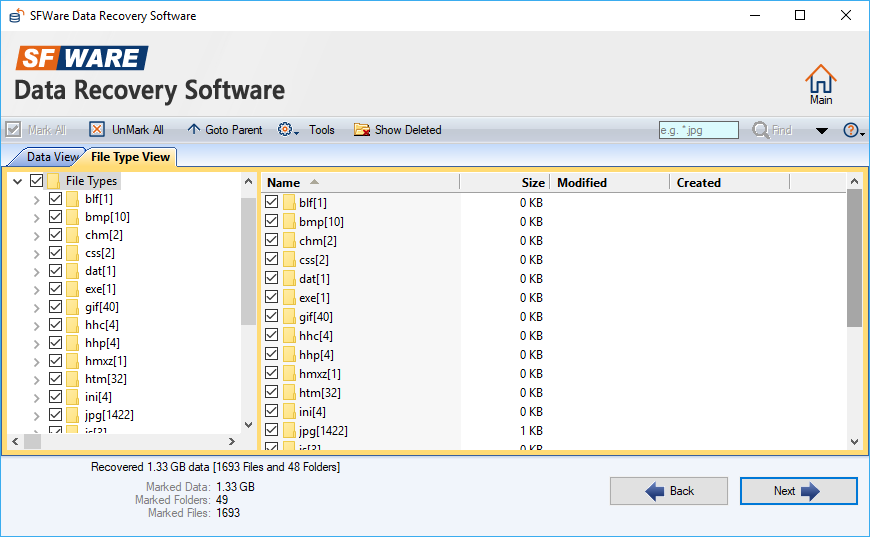 Display of recovered data in  data view file type view